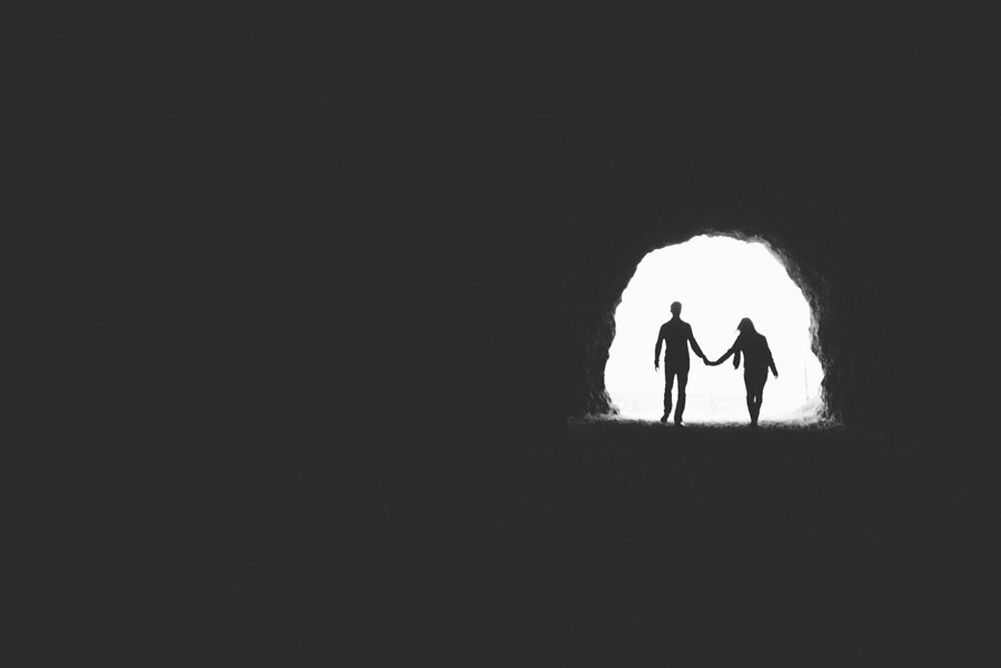 silhouettes in a cave